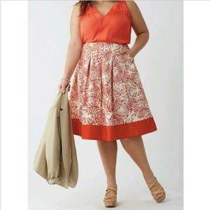 Lane Bryant red-orange printed circle skirt sz 18